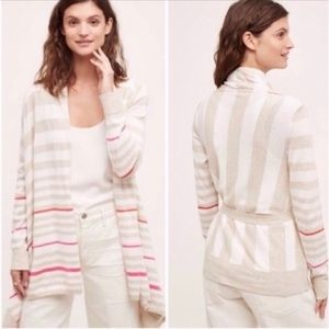 Anthropologie Moth Striped Belted Wrap Cardigan